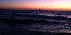 beach dusk ship